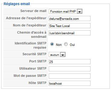 Réglages email