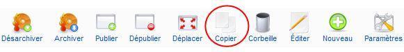 Barre d'outil des articles : copier