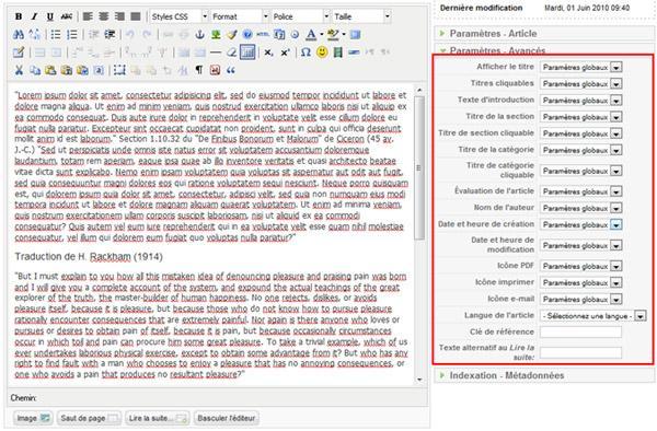 Paramètres d'affichage sur un article
