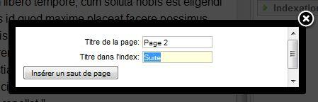 Titre de page et d'index