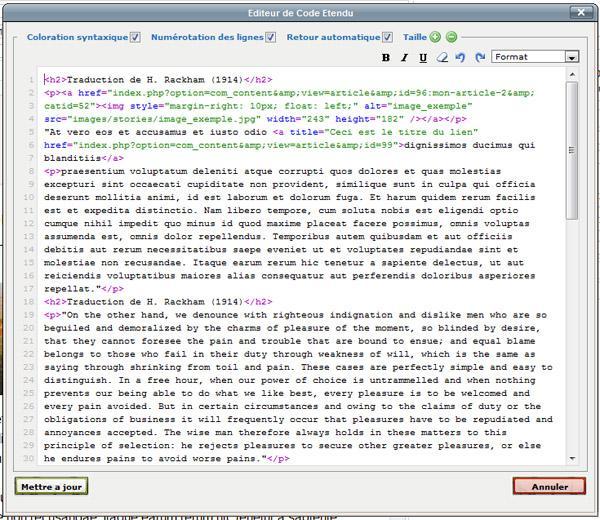 Affichage du code HTML des articles