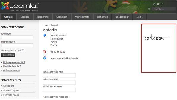 Page interne du site, deuxième exemple