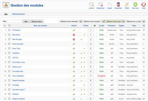 Liste des modules