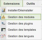Menu gestion des modules