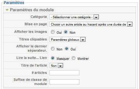 Paramètres du module flash d'information