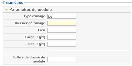 Paramètres du module Image au hasard