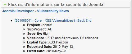 Module d'information sur les mises à jour de sécurité de Joomla