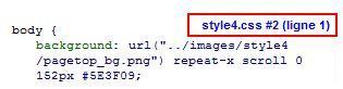Nom du fichier CSS concerné